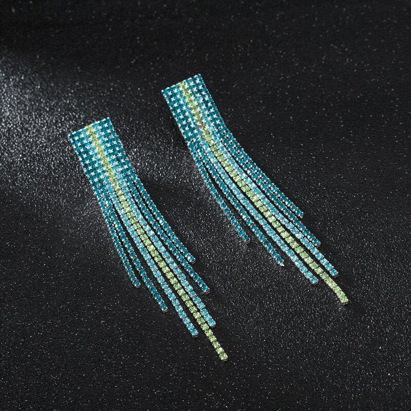 أقراط طويلة متدلية من حجر الراين للنساء ، مجوهرات فاخرة ذات نوعية جيدة ، لون أسود ، عتيق ، # E019