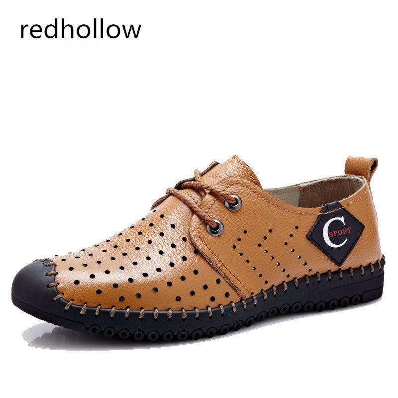 Sandales d'été en cuir véritable pour hommes, chaussures de plage, souples et respirantes