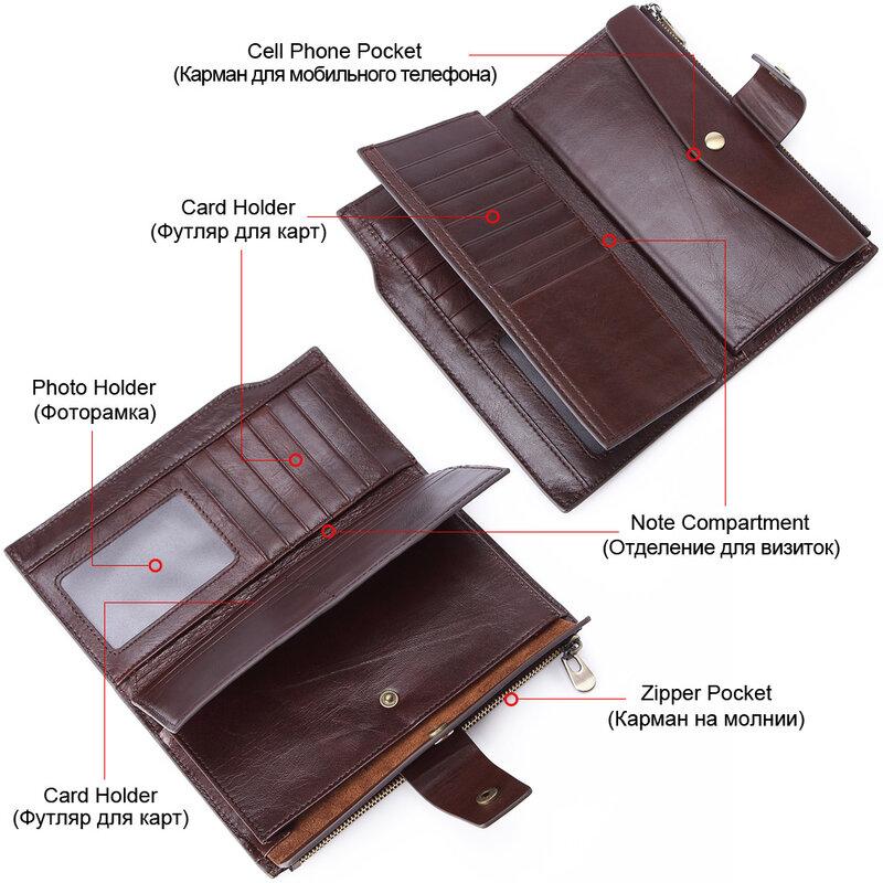 새로운 정품 가죽 남성 지갑 클러치 비즈니스 핸드폰 가방 주최자 카드 golder 긴 지퍼 동전 지갑 브랜드 남성 머니 백