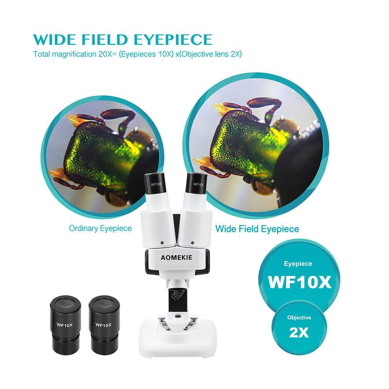 AOMEKIE-مجهر ستيريو 20X ثنائي العينين مع LED ، أداة لحام PCB ، إصلاح الهاتف الخلوي ، مراقبة المعادن ، مجهر