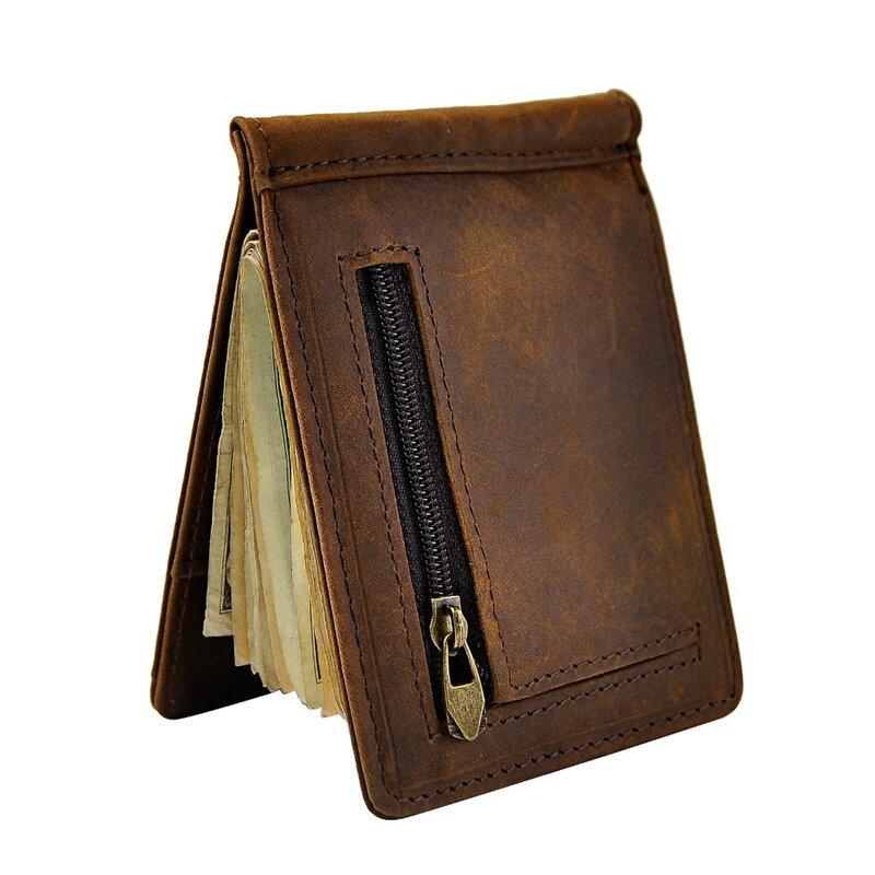 Männlichen Echtem Leder Design Mode Schlanke Brieftasche Front Tasche Geld Clip Mini Geldbörse Für Männer 1098