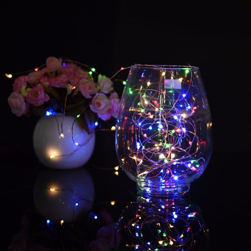 Led 요정 휴일 배터리 전원 LED 문자열 빛 2M 5M 10M 구리 와이어 DIY 크리스마스 트리 웨딩 야외 장식