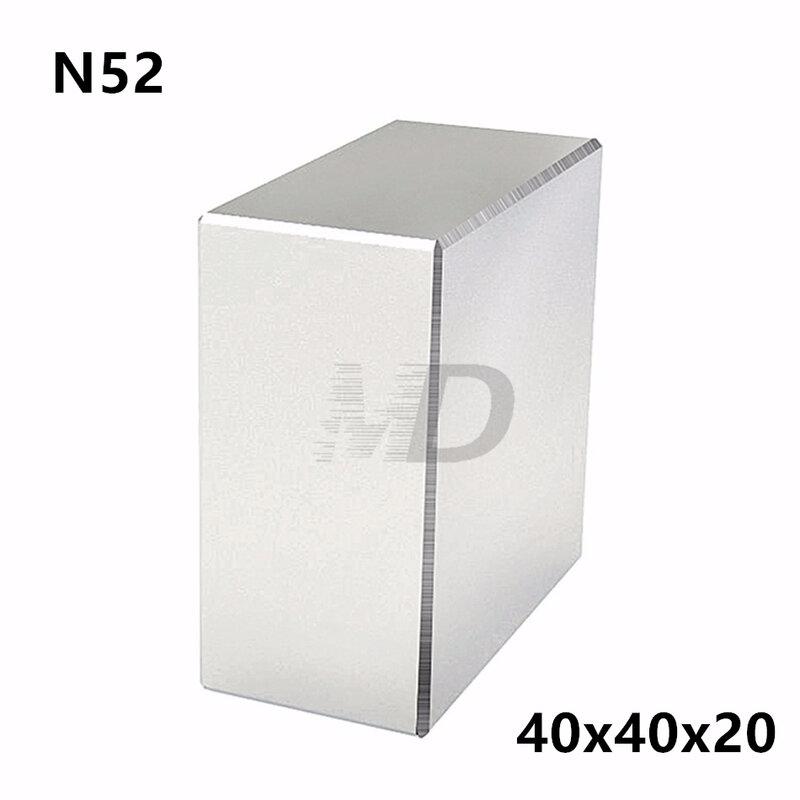 1 قطعة كتلة 40x40x20 مللي متر سوبر قوي N52 عالية الجودة نادر الأرض مغناطيس النيوديميوم المغناطيس