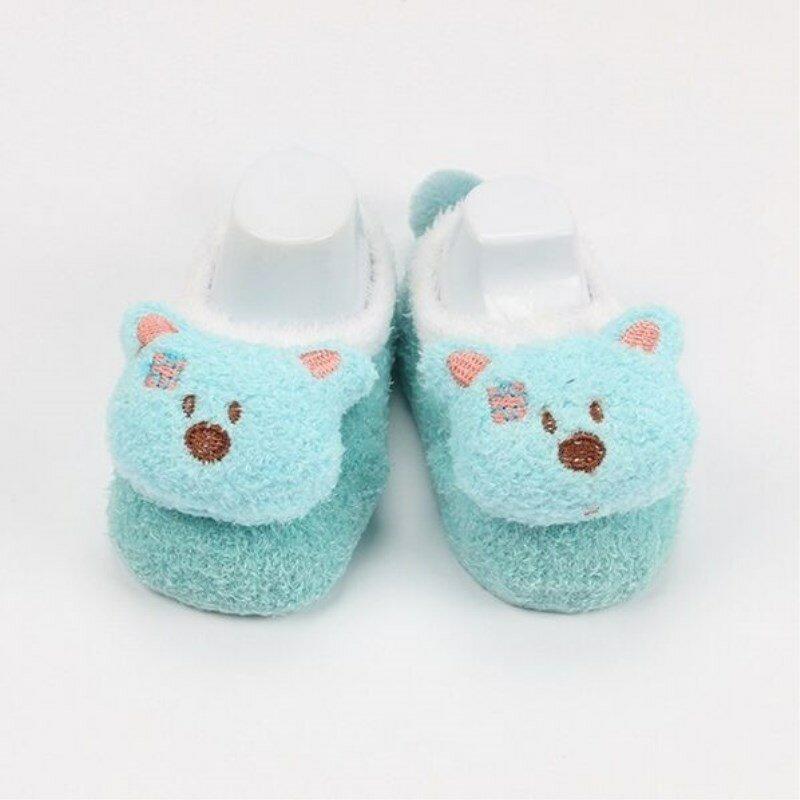 Calcetines de lana de Coral con dibujos animados para bebé, medias suaves con patrón de animales, para niños y niñas