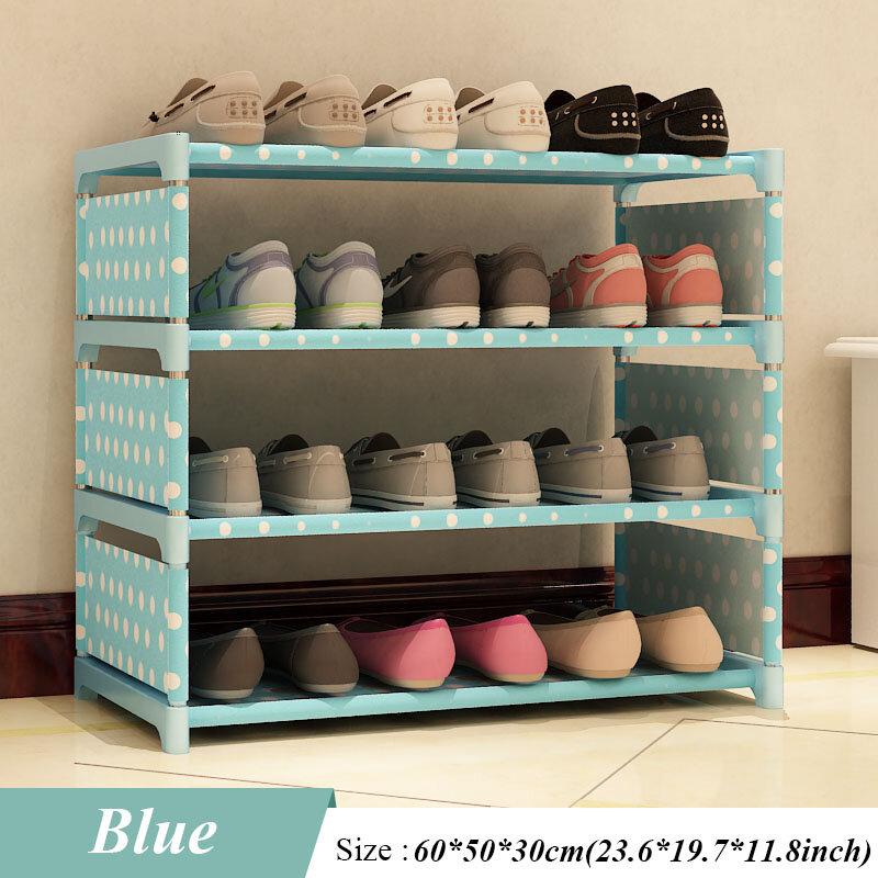 새로운 신발 랙 4 층 수신 신발 방주 50 cm 높은 남성과 여성의 기숙사 침대 바닥 침대 신발 선반