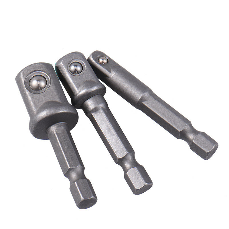 "New 3pcs/set Chrome Vanadium Steel Socket Adapter Hex Shank to 1/4"" 3/8"" 1/2"" Extension Drill Bits Bar Hex Bit Set Power Tools"