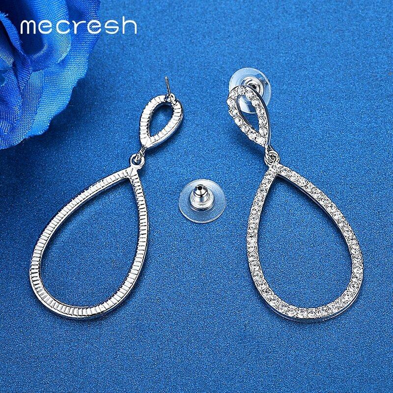 Mecresh-أقراط زفاف بسيطة ، مجوهرات نسائية ، لون فضي ، أحجار الراين ، شكل دائرة ، عصرية ، EH517