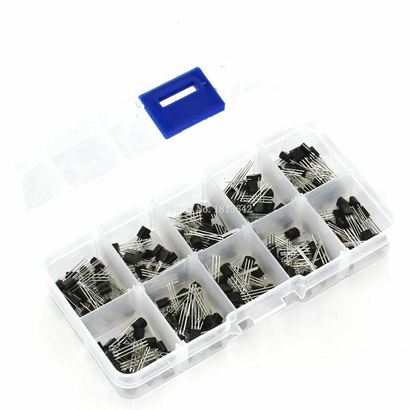 BC337 BC327 2N2222 2N2907 2N3904 2N3906 S8050 S8550 A1015 C1815 الترانزستور تشكيلة كيت 10 قيمة 200 قطعة ، الترانزستورات مربع حزمة