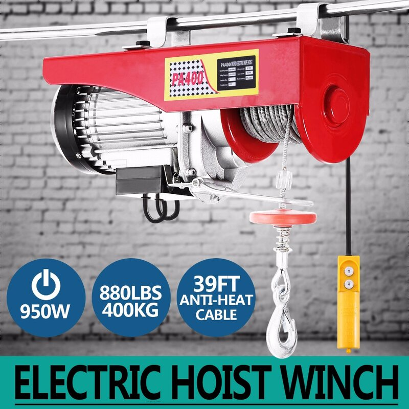 ใหม่880lbs Miniไฟฟ้าเครนเหนือศีรษะโรงรถWinchรีโมทคอนโทรลAuto Lift