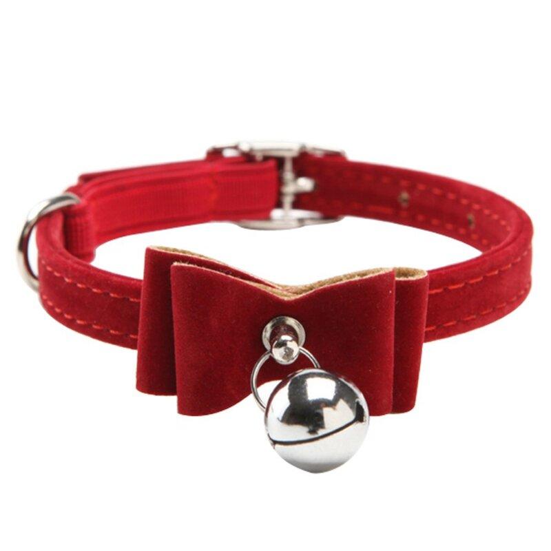 Con campana a sgancio rapido collare per cani e gatti gattino velluto papillon sicurezza elastico 6 colori Nice Bowtie cani da compagnia gatti fornitore