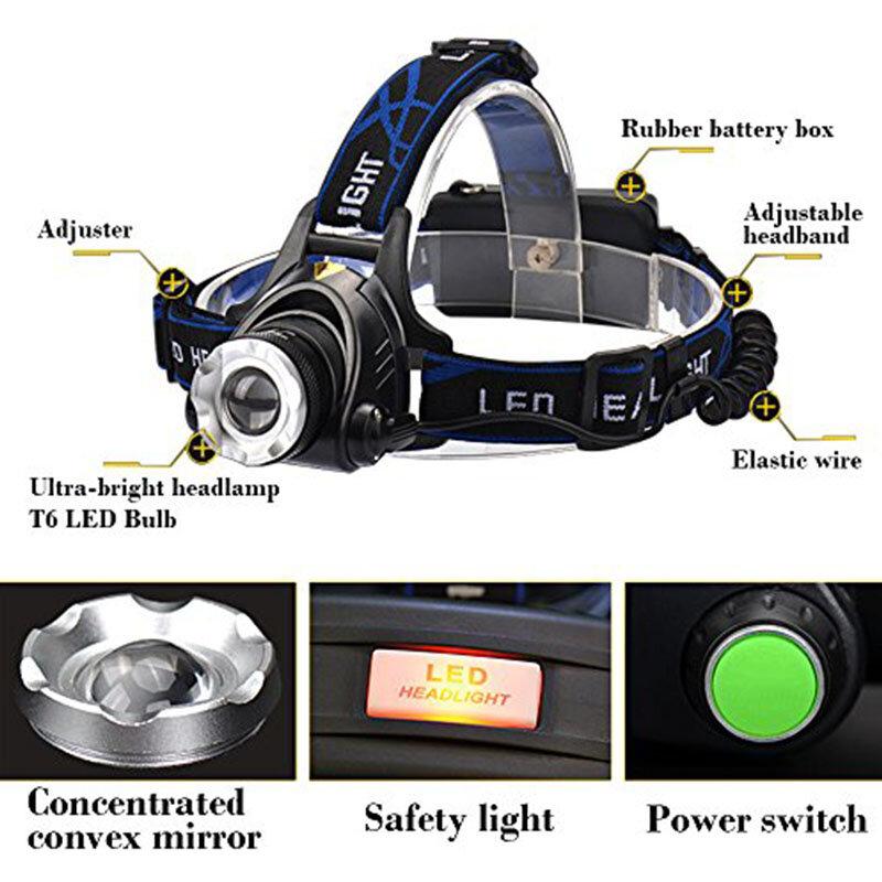 Ru 미국 2300 루멘 새로운 xm-l t6 led 전조등 헤드 라이트 사냥 헤드 라이트 램프 3 모드 + 2*18650 배터리 + eu + 차량용 충전기