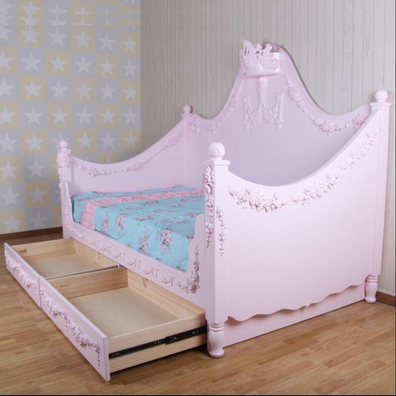 In stile europeo In stile Mediterraneo intagliato ragazza in legno letto in legno massello mobili per bambini su misura letto per bambini letto principessa