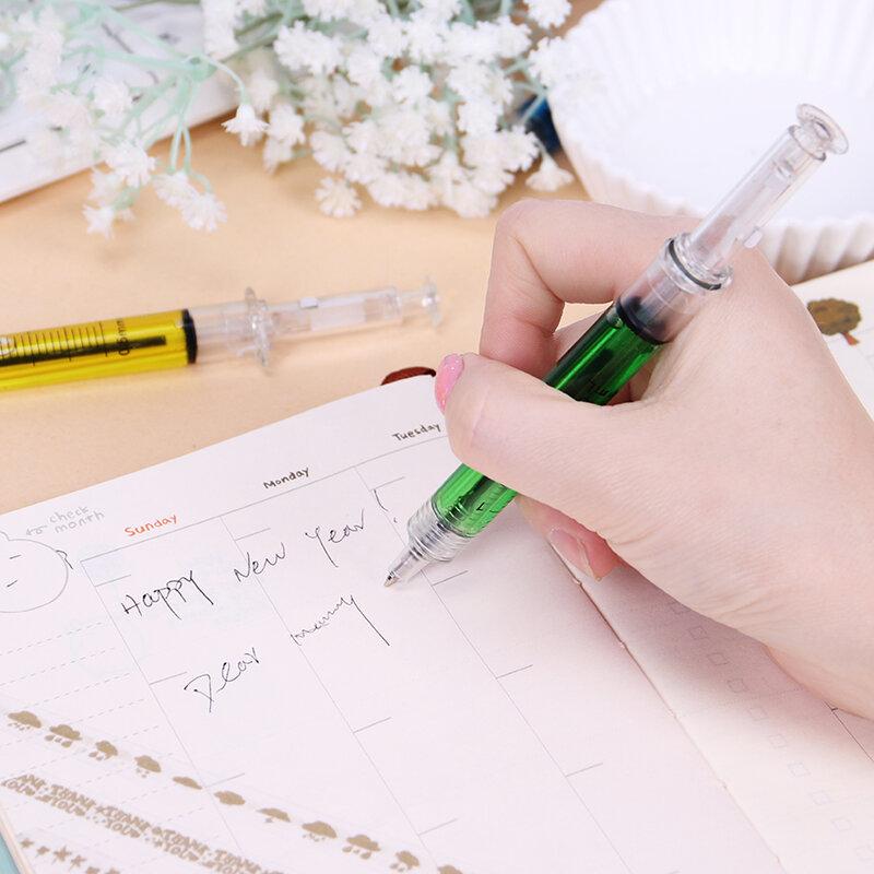 4 قطعة/الوحدة السائل الجدة الحقنة قلم القرطاسية لطيف حقنة قلم مكتب لوازم الطفل هدية