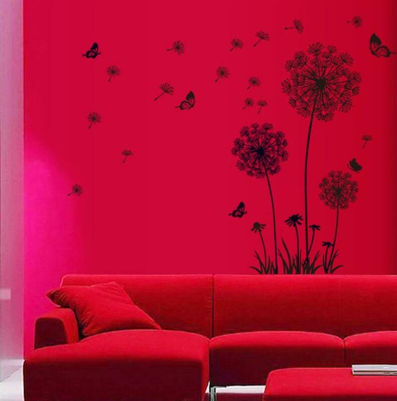 """""""Schmetterling Fliegen In Löwenzahn"""" schlafzimmer stickersPoastoral Stil Wand Aufkleber Original Design 2017 PVC Wand Abziehbilder ZY5125"""
