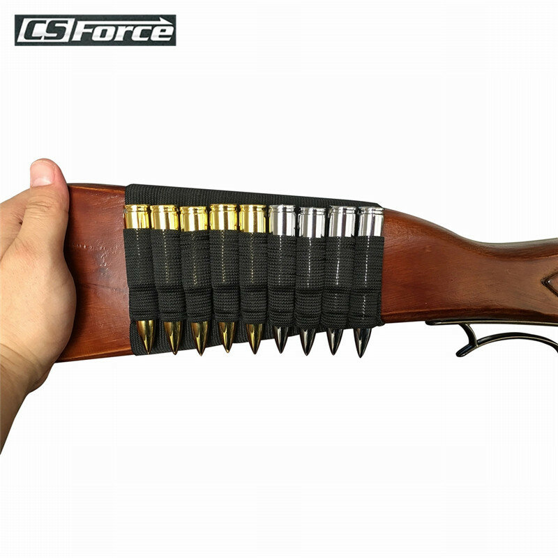 CS Force 9 Cartridges Ammo Bullet Pouch Elastic Butt Stock Rifle Shells Holder Hunting Gun Accessories Tactical Airsoft Kit