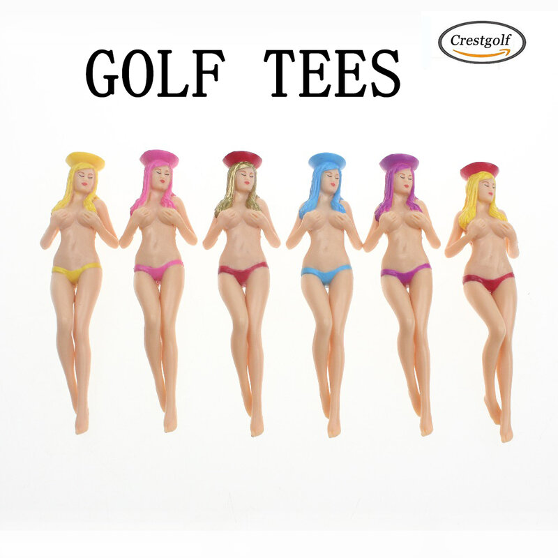 CRESTGOlf Style – 6 pièces/paquet, taille 75mm(2.95 pouces), Bikini Sexy pour dames, cadeau, nouveau Design, Tees de Golf en plastique, accessoires de Golf