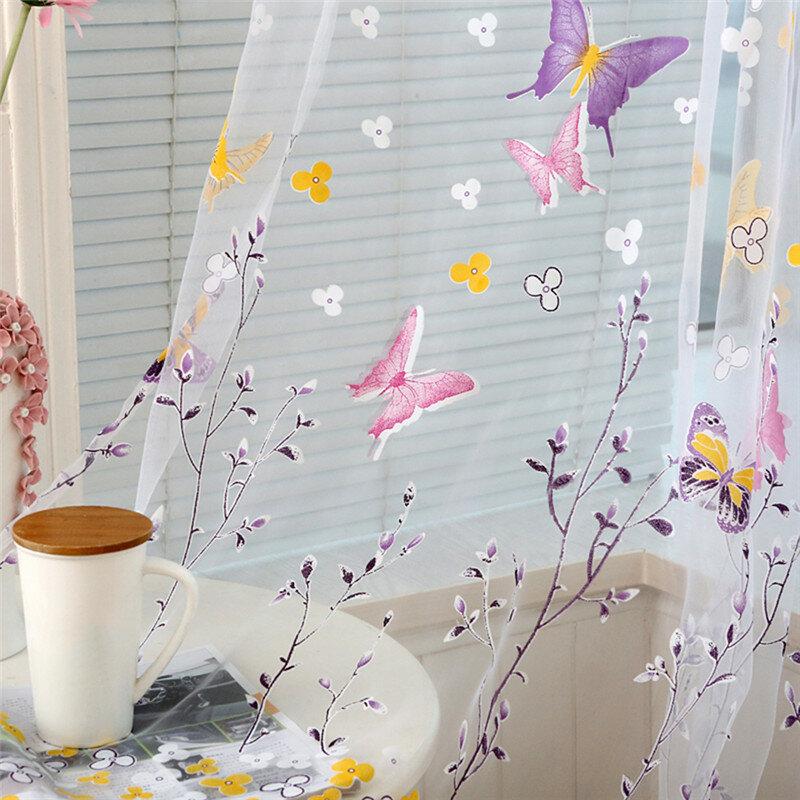 2020 1pcs Farfalla Rami Stampato Tende di Tulle per Soggiorno Indoor Finestra di Screening Decorazione Balcone Burnout Voile Tenda