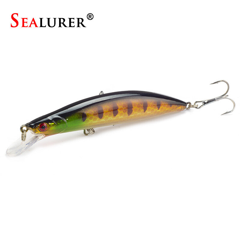 SEALURER เหยื่อ 1 PCS Floating Minnow ตกปลา Lure เลเซอร์ Hard เหยื่อประดิษฐ์ 3D ตา 11cm12. 7g Wobblers ตกปลา Crankbait Minnows