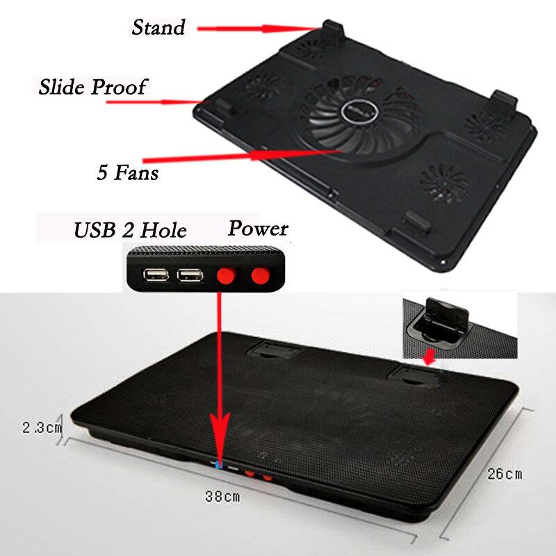 """Professional แล็ปท็อป Cooling Pad 13 """"14"""" 15.6 """"แล็ปท็อปพัดลมสไลด์ขาตั้งแล็ปท็อปสำหรับ Notebook Cooler"""
