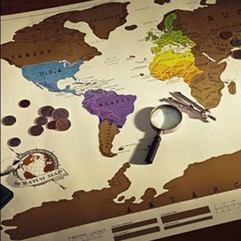 1 قطعة خدش قبالة خريطة السفر خدش خريطة 88x52 سم خريطة العالم الجدة هدية