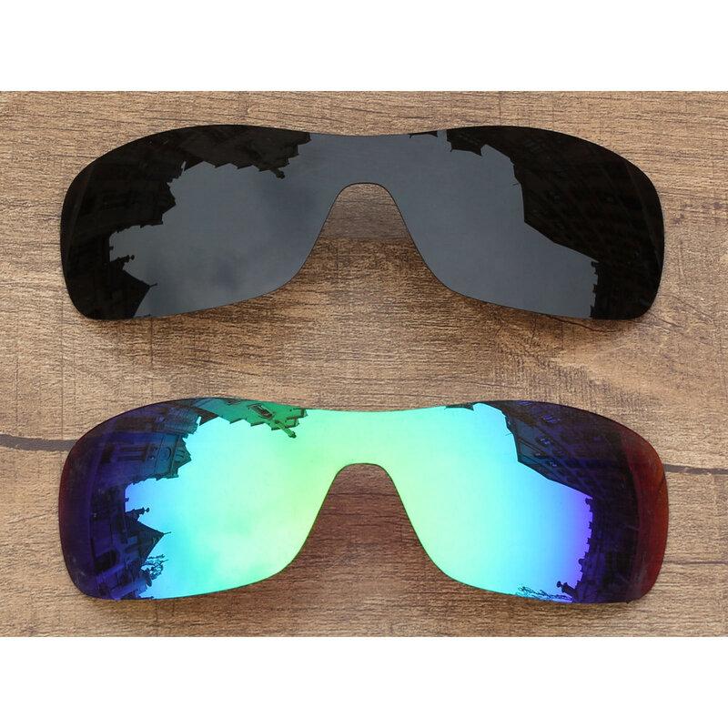 Vonxyz Two Pieces Stealth Black & Jade Mirror Polarized Replacement Lenses for-Oakley Antix Frame