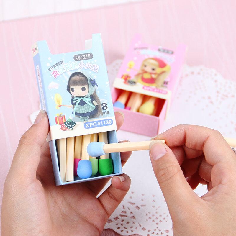 Goma de borrar Kawaii para niños y estudiantes, juego de 8 unids/pack, regalo creativo