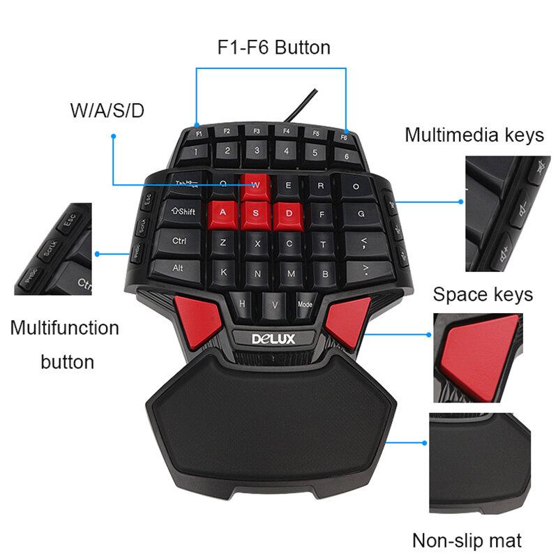 Delux T9มือเดียวProfessionalเกมPCคีย์บอร์ดGamer USB MiniแบบพกพาเกมKey Board 47ปุ่มDouble Space CF CS LOL
