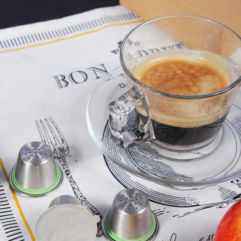 สรุปเติมสแตนเลสสตีลเติมกาแฟCapsulasสำหรับเครื่องNespresso Maker 1 Pod + 60 ซีล