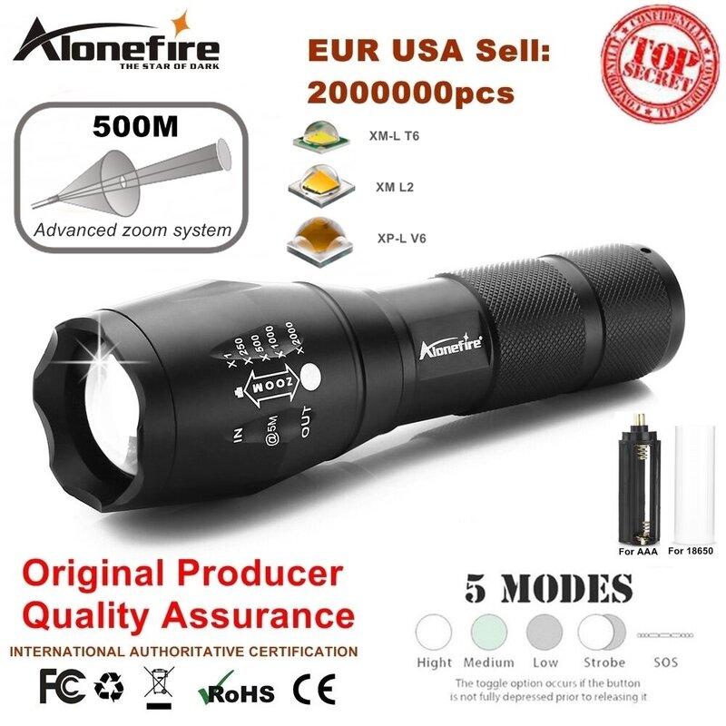 AloneFire-مصباح يدوي LED عالي الطاقة G700 ، CREE XML T6 L2 U3 ، مصباح زوم تكتيكي ، مصباح سفر ، بطارية قابلة لإعادة الشحن 18650