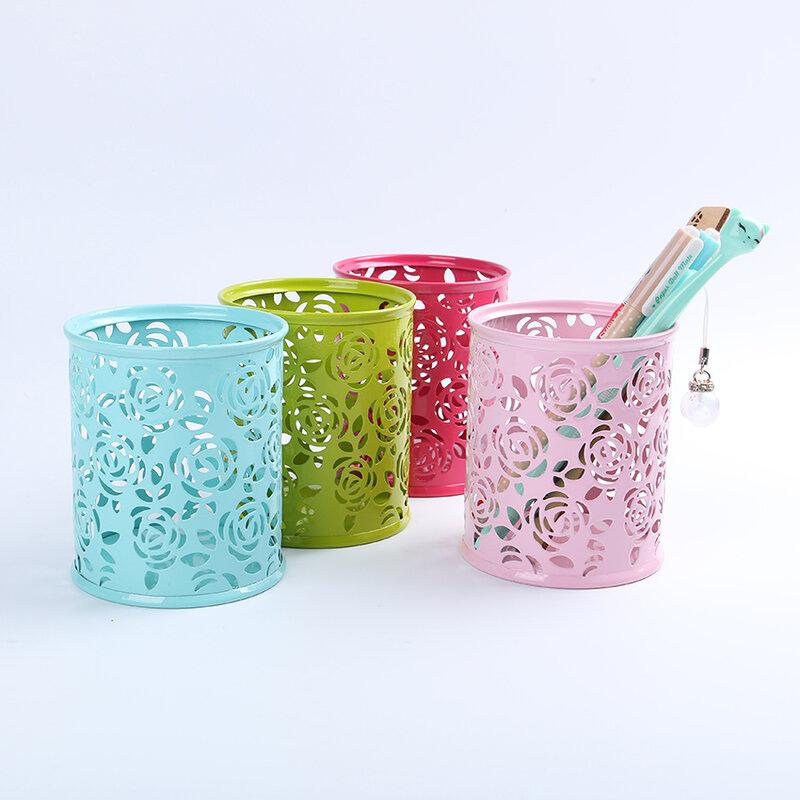 Organizador de almacenamiento de flor Rosa hueca, estuche de bolígrafo, soporte para lápices, contenedor de papelería para estudio, soportes redondos para bolígrafos, 1 ud.
