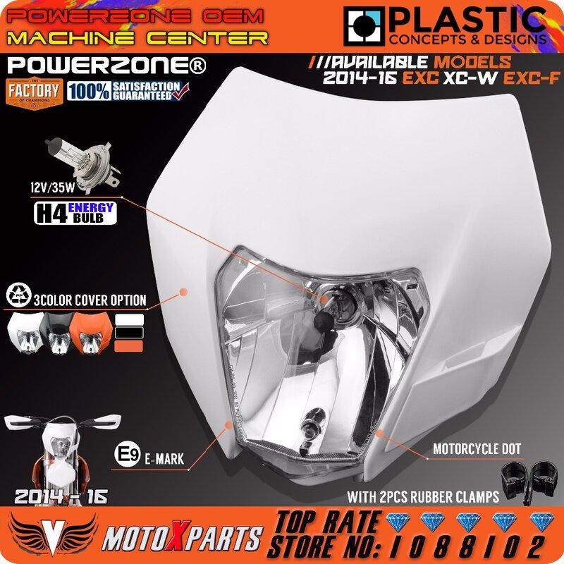 Powerzone المصباح كشافات ل KTM SX F EXC XCF SMR 2014 15 16 للدراجات النارية الترابية دراجة MX إندورو Supermoto مع H4 لمبة