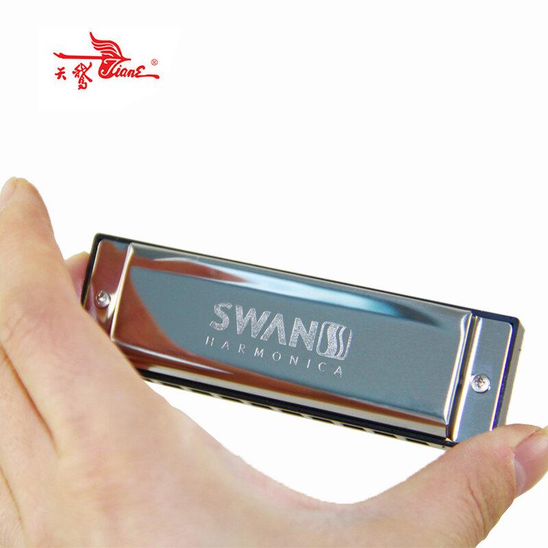 Harmonica SWAN อาวุโส Bruce 10 หลุมบลูส์กรณีทองเหลืองสแตนเลส