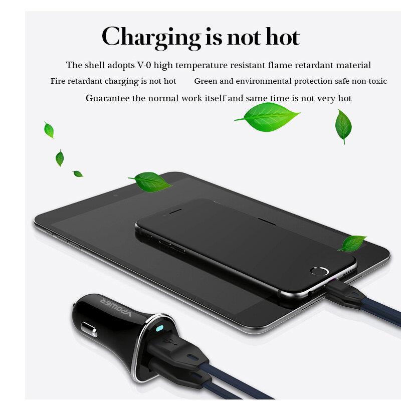 USB รถชาร์จ Vpower Dual USB Charger 2.4A Fast ชาร์จโทรศัพท์มือถือ-เครื่องชาร์จ Travel Adapter ซิการ์ DC 12-24V