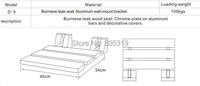 "DIYHD 15-3/4 ""Modern สักพับ Shower Seat Bench Chrome Wall Mount ไม้สัก Shower SEAT"