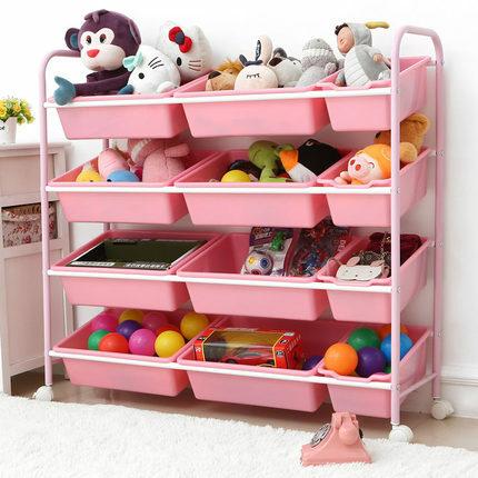 Estante de acabado para almacenamiento de juguetes para niños, estante multicapa con rodillo para juguetes para bebés