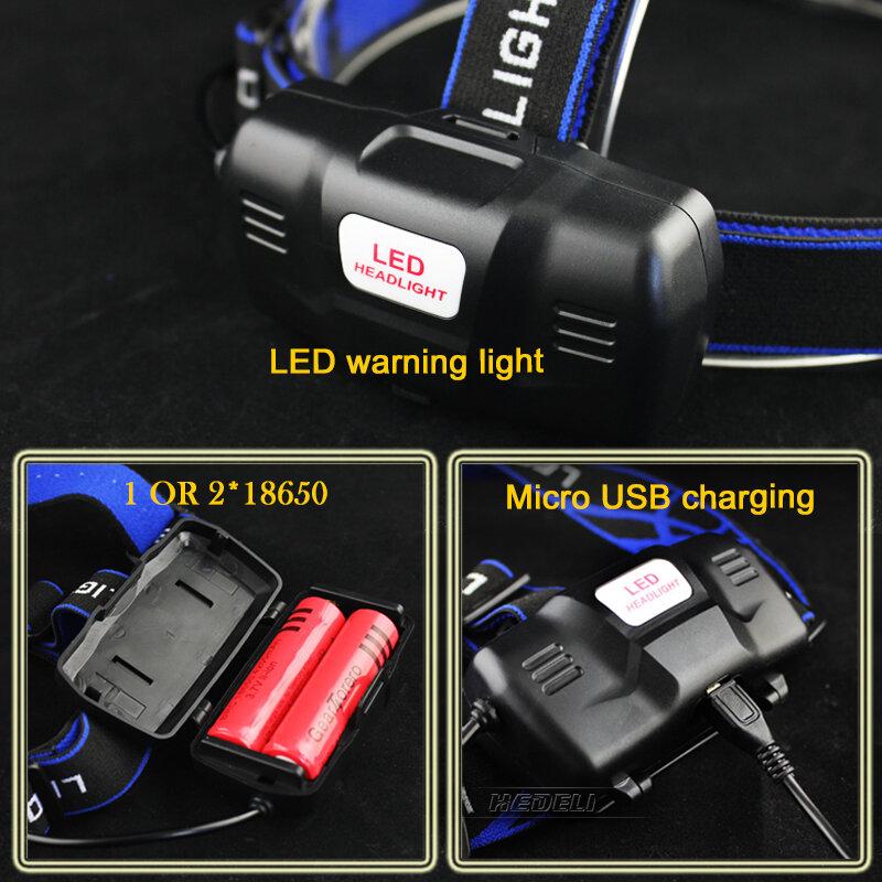 Usb sensor led scheinwerfer cree scheinwerfer xm l t6 xm-l2 wasserdichte zoom kopf lampe 18650 akku taschenlampe kopf taschenlampe