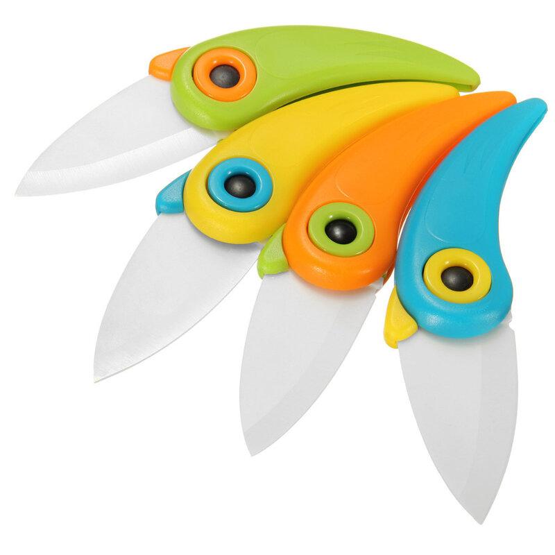 ใหม่MINI BIRDเซรามิคมีดมีดของขวัญกระเป๋าพับเซรามิคมีดครัวมีดผลไม้ที่มีสีสันABS