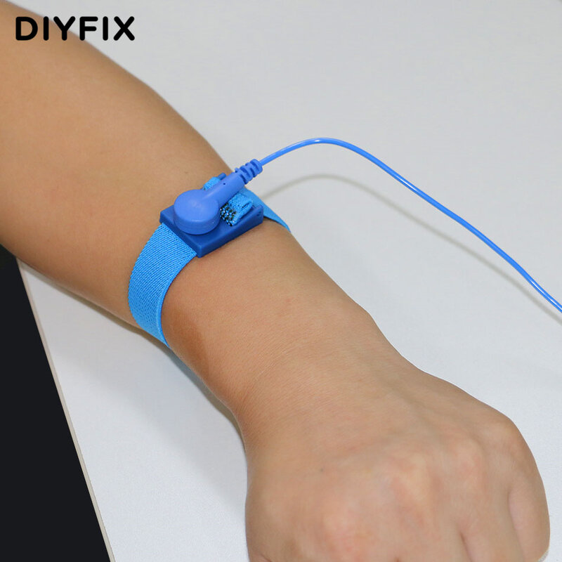 DIYFIX-حزام معصم مرن مضاد للكهرباء الساكنة ESD ، مع مشبك ، أدوات إصلاح الإلكترونيات الحساسة