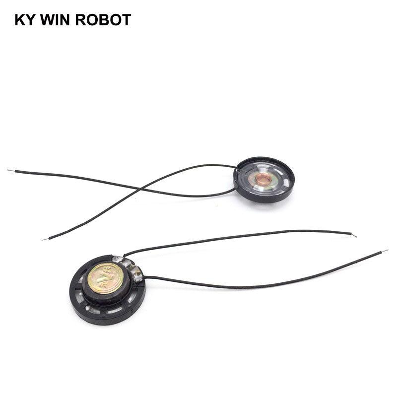 Bocina ultrafina para coche, claxon de juguete de 8 ohmios, 0,25 vatios, 0,25 W, 8R, diámetro de 27MM, 2,7 CM, con cable, 2 unids/lote