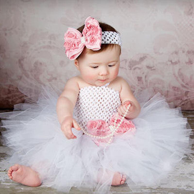 Toddler Ragazze Fancy Principessa Vestito Dal Tutu Festa Fiore Doppi Strati Fluffy Vestito Dal Bambino con Fascia Puntelli Foto TS044