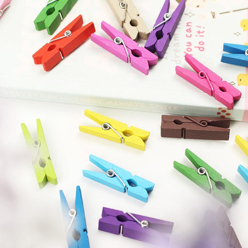 Mini Clips de madera de Primavera de colores al azar, papel fotográfico, clavija, Pin, pinzas para ropa, decoración de fiesta, 20 Uds.