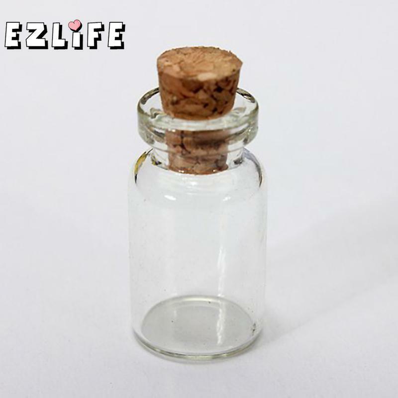 10 Pcs น่ารัก Mini Clear จุกขวดแก้วภาชนะบรรจุขนาดเล็กที่ต้องการ # ZH210