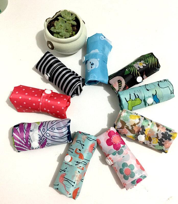 플라밍고 롤 폴리 에스터 녹색 쇼핑 가방 접이식 토트 재사용 휴대용 어깨 접는 주머니 핸드백 F 인쇄