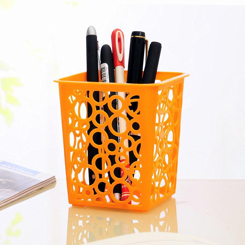 Escritorio cuadrado hueco de almacenamiento de plástico cesta caja de almacenamiento titular de la pluma