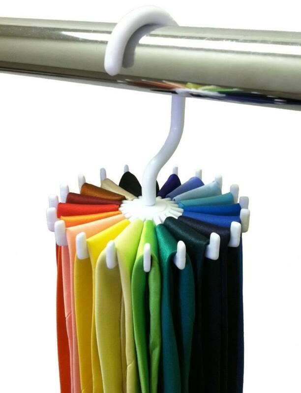 Regolabile 20 Ganci Cintura Rotante Sciarpa Rack Organizzatore Degli Uomini del Collo Tie Gancio Contiene Supporti Di Memorizzazione