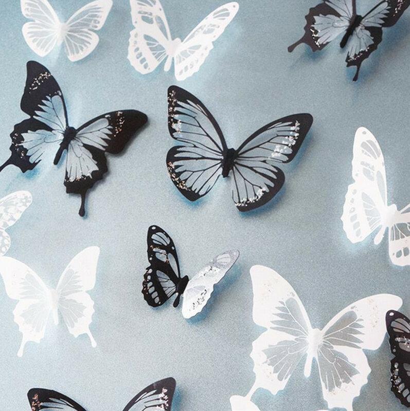 Pegatinas de mariposa de cristal para decoración del hogar, calcomanía de arte, Mural de pared, bricolaje, regalo de Navidad y boda, negro/blanco, 18 Uds.
