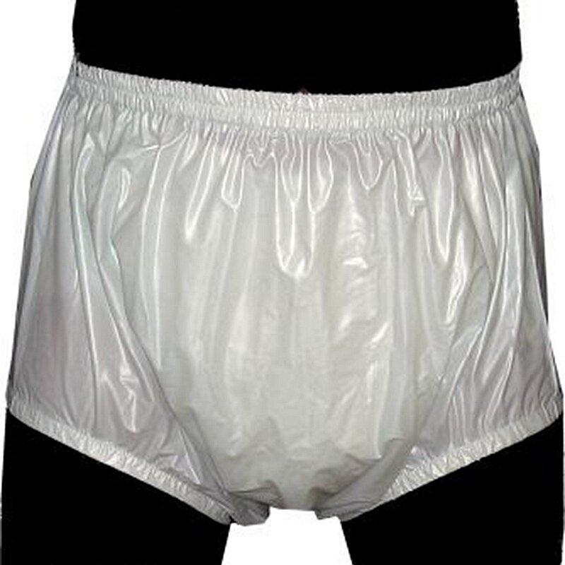 Freies verschiffen FUUBUU2201-Blue-XL-2PCS Pull auf kunststoff hosen unterwäsche männer boxer shorts männer pvc inkontinenz shorts
