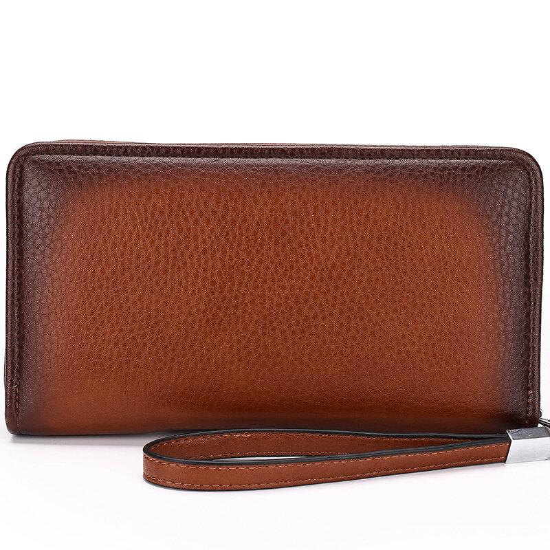 محفظة جلدية فاخرة للرجال ، 2021 ، حقائب يد رجالية ، محافظ أعمال ، أسود وبني ، سعر الدولار