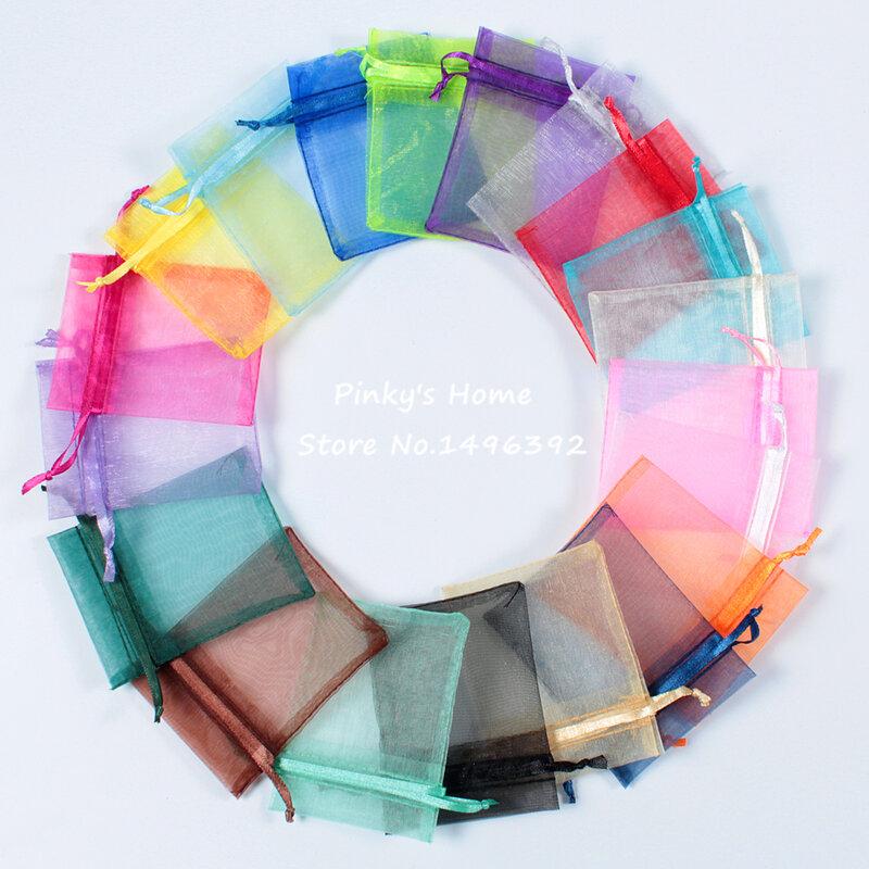 50 pz/lotto 9X12 cm Colori Casuali Della Miscela Imballaggio Drawable Organza Borse Titolari di Cancelleria Sacchetti Regalo Bustina Organza