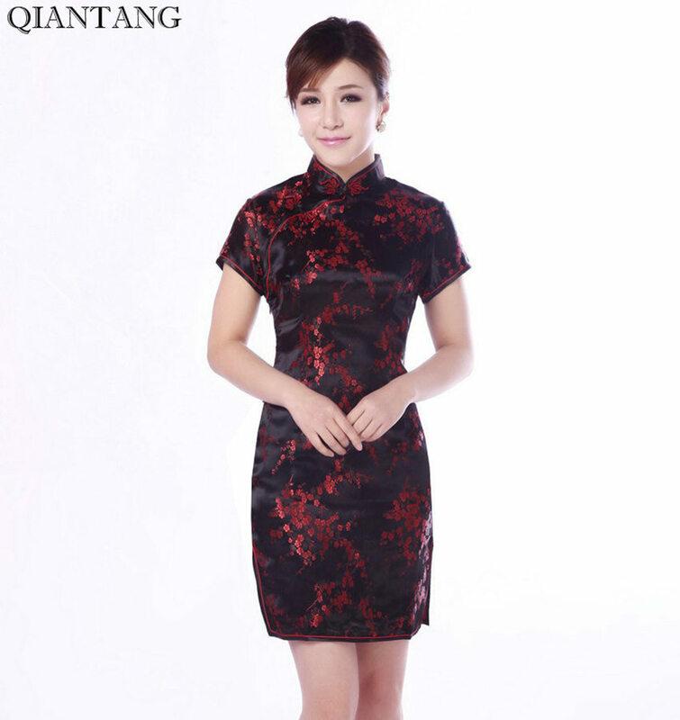 สีดำแบบดั้งเดิมจีน Mujer Vestido ผู้หญิงซาติน Qipao MINI Cheongsam ดอกไม้ขนาด S M L XL XXL XXXL 4XL 5XL 6XL J4039